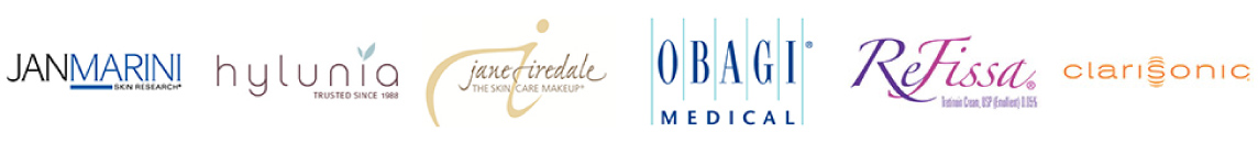 We're proud to carry Jan Marini, Hylunia, Jane Iredale, Obagi, Refissa, and Clarisonic